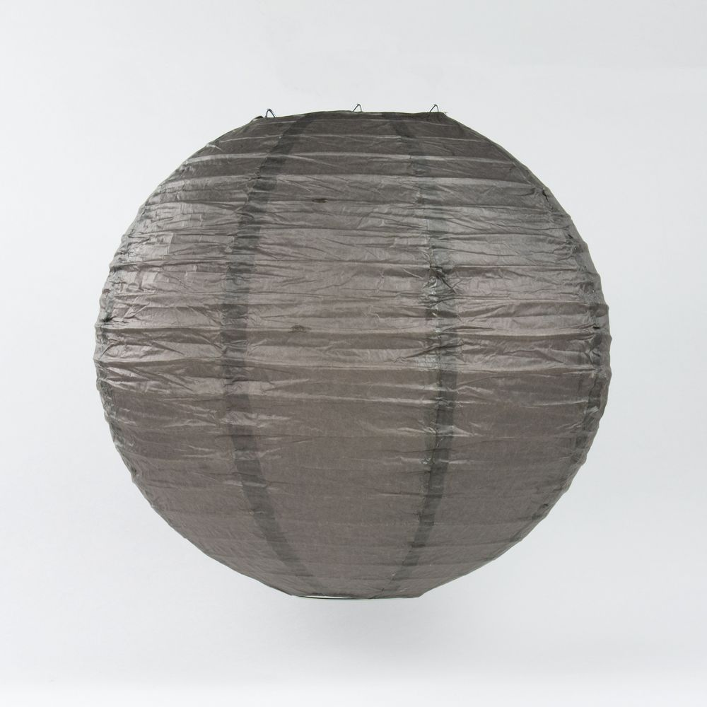 "14"" Driftwood Grey Round Paper Lantern, Even Ribbing, Chinese Hanging Wedding & Party Decoration - PaperLanternStore.com - Paper Lanterns, Decor, Party Lights & More"