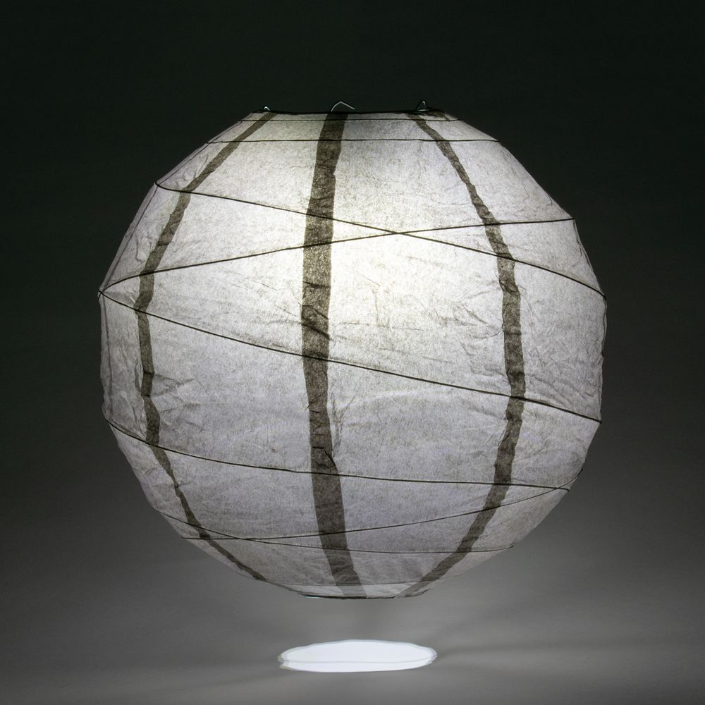 "20"" Driftwood Grey Round Paper Lantern, Crisscross Ribbing, Chinese Hanging Wedding & Party Decoration"