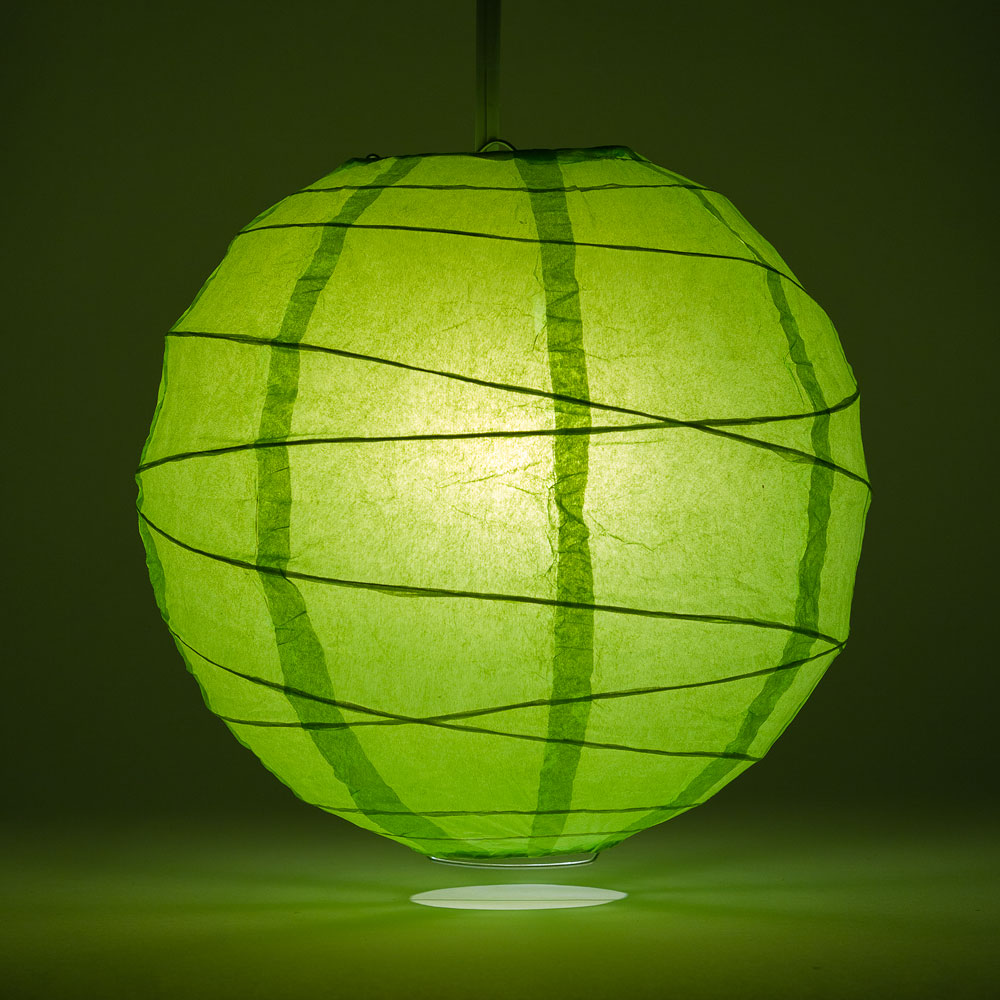 "6"" Grass Greenery Round Paper Lantern, Crisscross Ribbing, Chinese Hanging Wedding & Party Decoration"