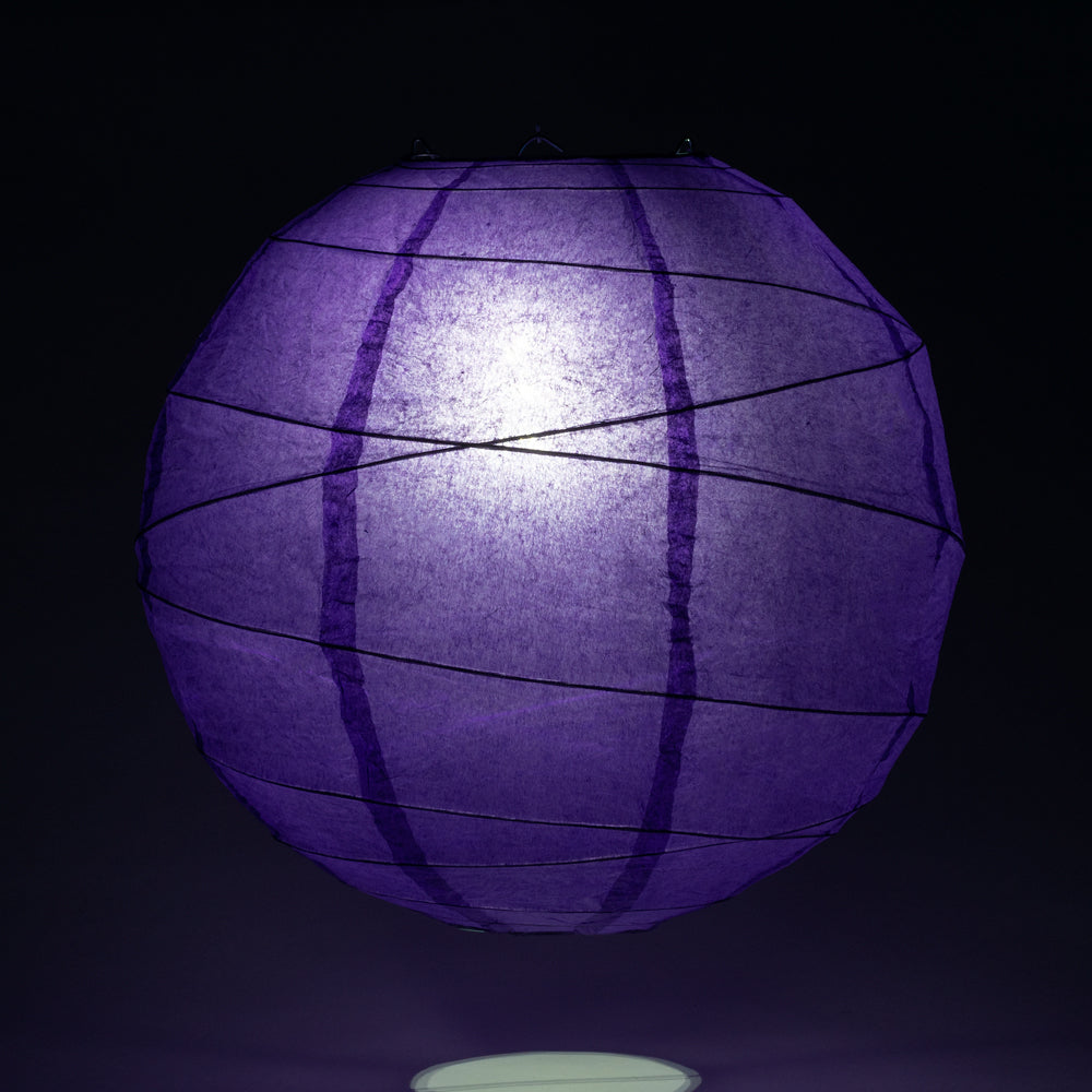 "20"" Plum Purple Round Paper Lantern, Crisscross Ribbing, Chinese Hanging Wedding & Party Decoration - PaperLanternStore.com - Paper Lanterns, Decor, Party Lights & More"