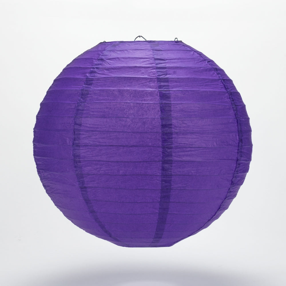 "14"" Plum Purple Round Paper Lantern, Even Ribbing, Chinese Hanging Wedding & Party Decoration"