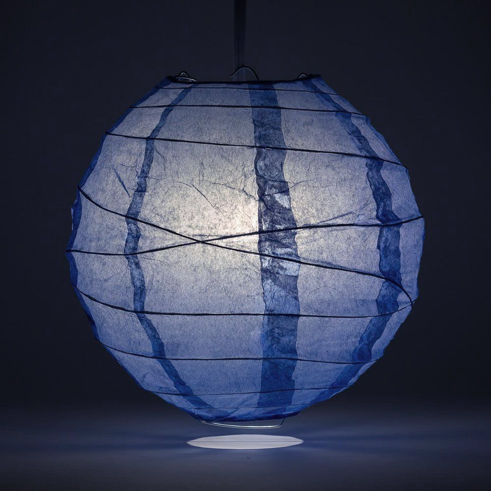 "20"" Serenity Blue Round Paper Lantern, Crisscross Ribbing, Hanging Decoration"