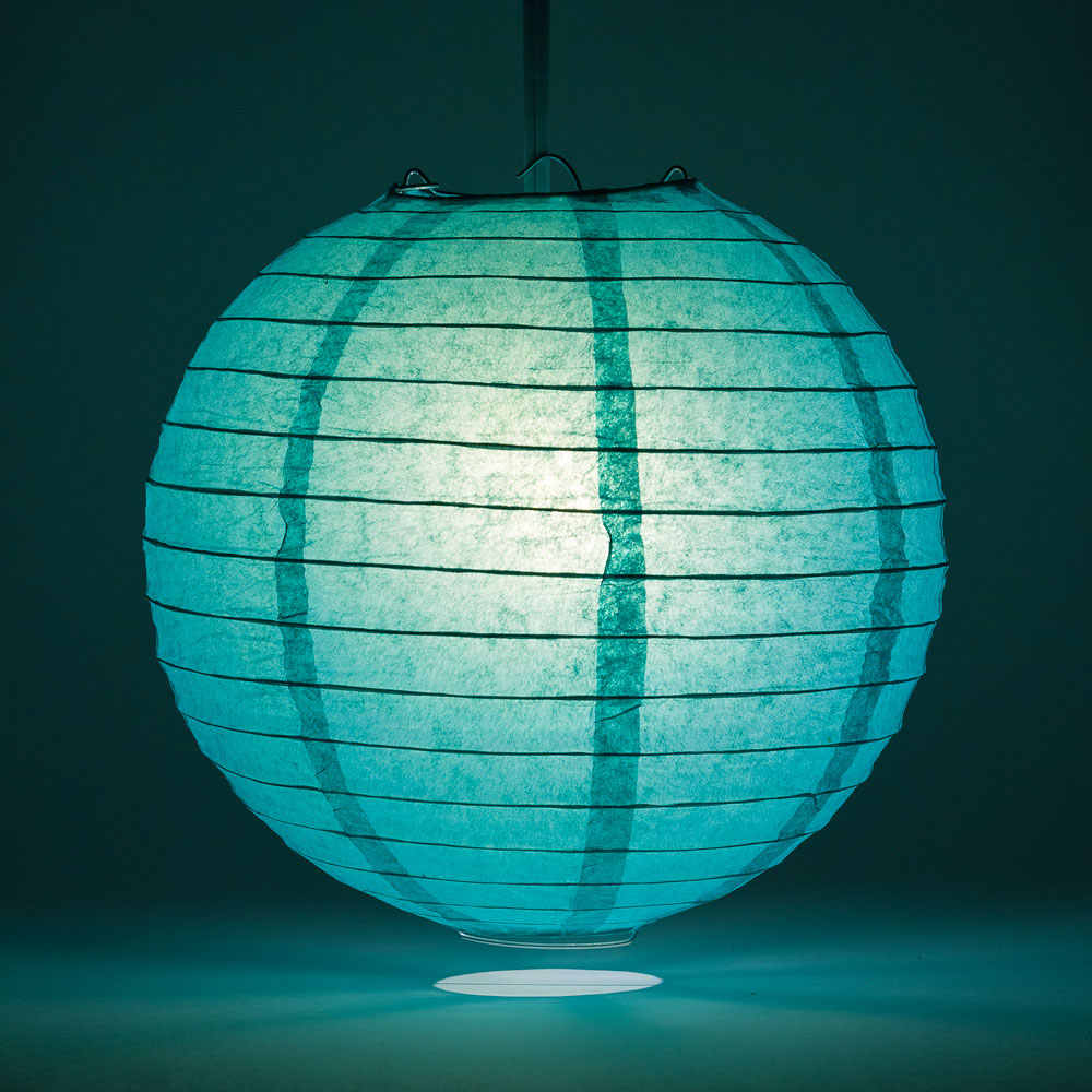 "36"" Teal Green Jumbo Round Paper Lantern, Even Ribbing, Chinese Hanging Wedding & Party Decoration - PaperLanternStore.com - Paper Lanterns, Decor, Party Lights & More"