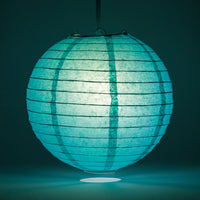 "6"" Teal Green Round Paper Lantern, Even Ribbing, Chinese Hanging Wedding & Party Decoration"