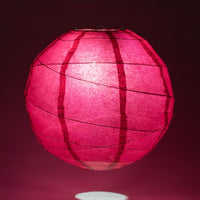 "24"" Velvet Red Round Paper Lantern, Crisscross Ribbing, Chinese Hanging Wedding & Party Decoration"
