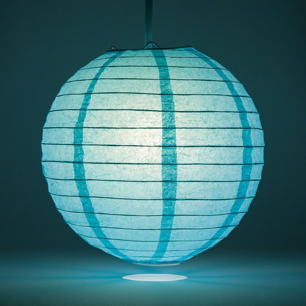 "8"" Water Blue Round Paper Lantern, Even Ribbing, Chinese Hanging Wedding & Party Decoration"