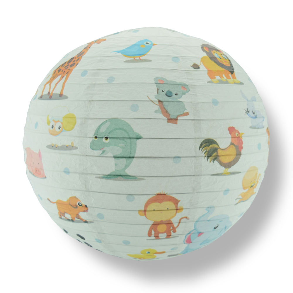"BLOWOUT 14"" Artisan Print Cute Animal Parade Paper Lantern, Design by Esper"