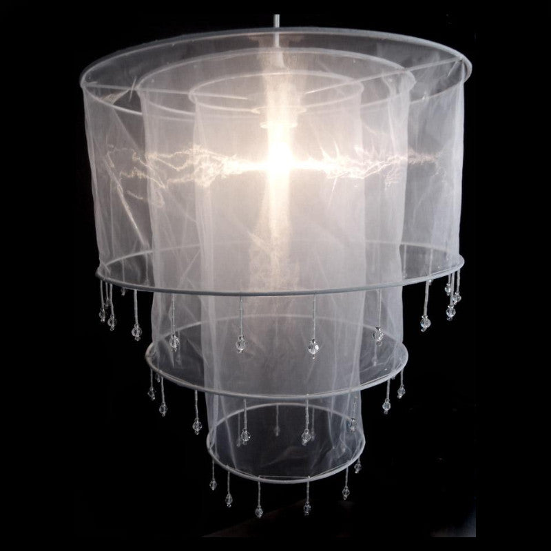 Elegant White Sari Fabric Lantern - PaperLanternStore.com - Paper Lanterns, Decor, Party Lights & More