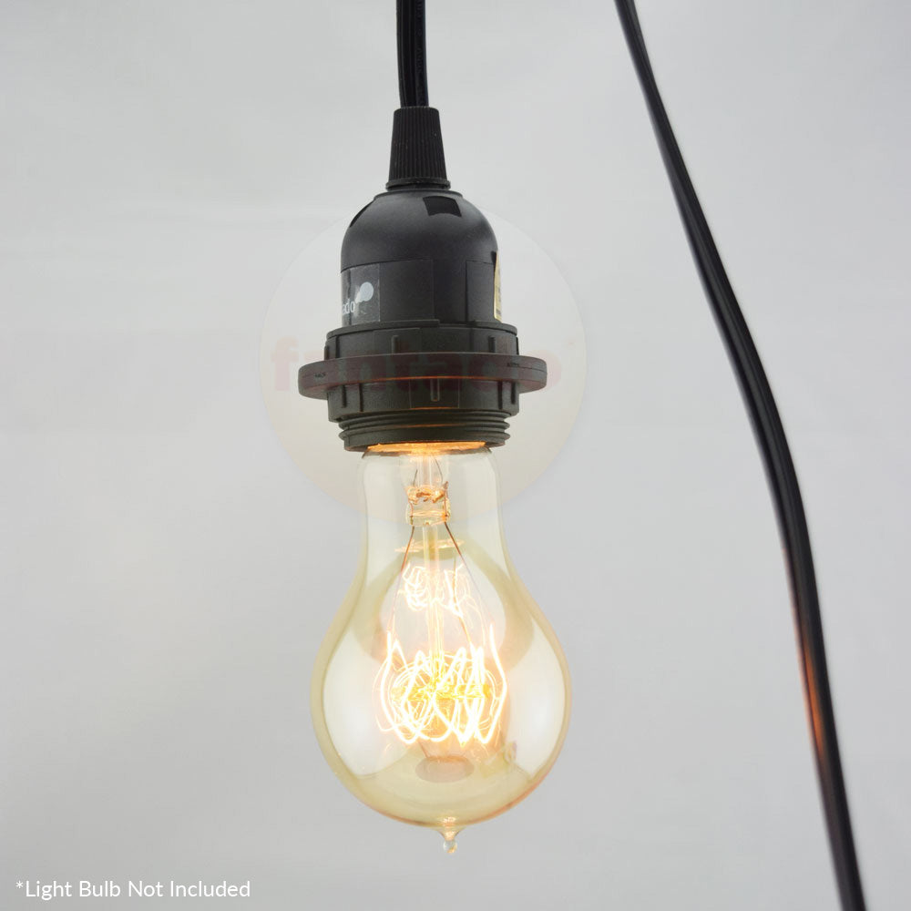 Single Socket Black Pendant Light Lamp Cord for Lanterns & Light Bulbs, 15 FT, UL Listed - Electrical Swag Light Kit