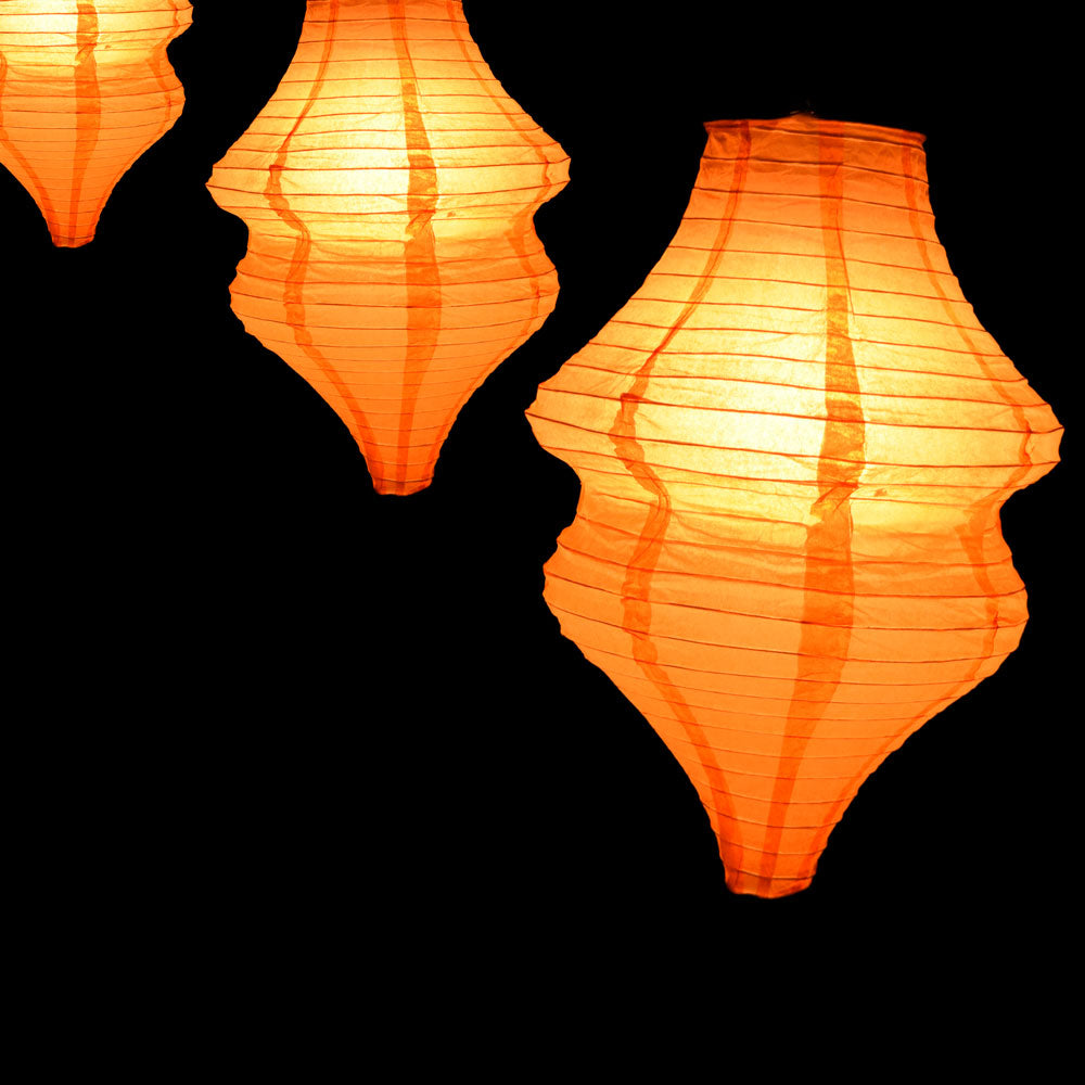 Orange Beehive Unique Shaped Paper Lantern, 10.5-inch x 15-inch
