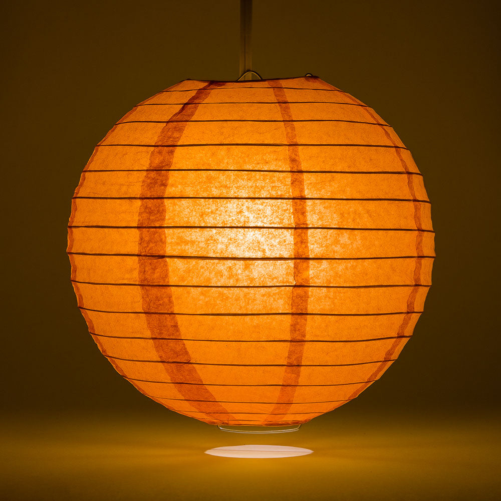 "16"" Persimmon Orange Round Paper Lantern, Even Ribbing, Chinese Hanging Wedding & Party Decoration"