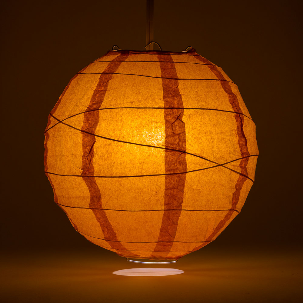 "6"" Persimmon Orange Round Paper Lantern, Crisscross Ribbing, Chinese Hanging Wedding & Party Decoration - PaperLanternStore.com - Paper Lanterns, Decor, Party Lights & More"