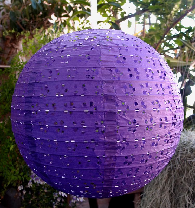 "BLOWOUT 16"" Round Eyelet Lace Look Paper Lantern - Dark Purple"