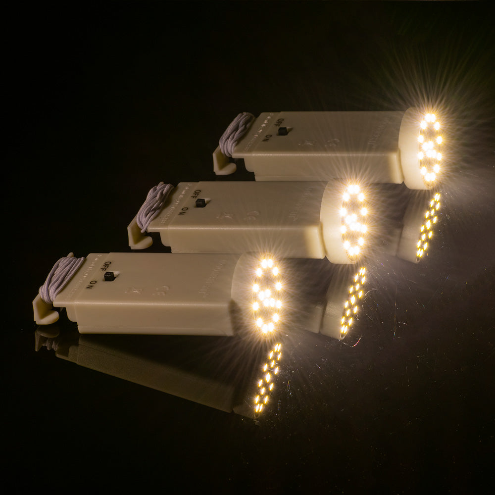 Fantado MoonBright™ BULK PACK (10) 16-LED Hanging Battery Lights for Lanterns, Warm White (Battery Powered) - PaperLanternStore.com - Paper Lanterns, Decor, Party Lights & More
