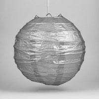 "16"" Silver Round Paper Lantern, Crisscross Ribbing, Chinese Hanging Wedding & Party Decoration"