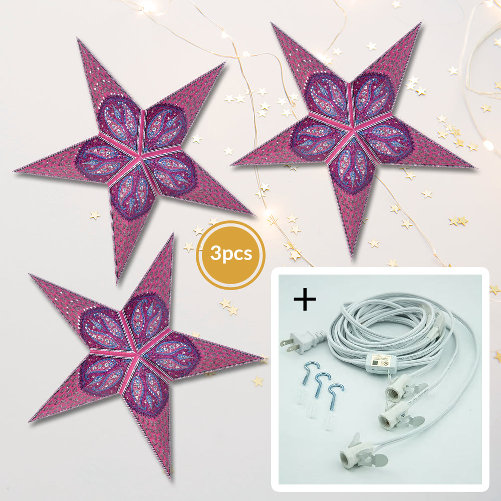 "3-PACK + Cord | Pink Jaipur 24"" Illuminated Paper Star Lanterns and Lamp Cord Hanging Decorations"
