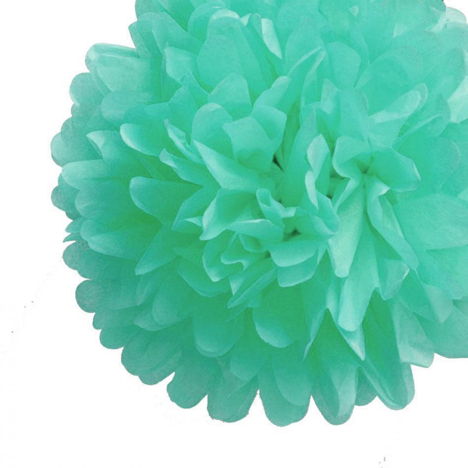 "BLOWOUT EZ-Fluff 20"" Arctic Spa Blue Tissue Paper Pom Poms Flowers Balls, Hanging Decorations (4 PACK) - PaperLanternStore.com - Paper Lanterns, Decor, Party Lights & More"