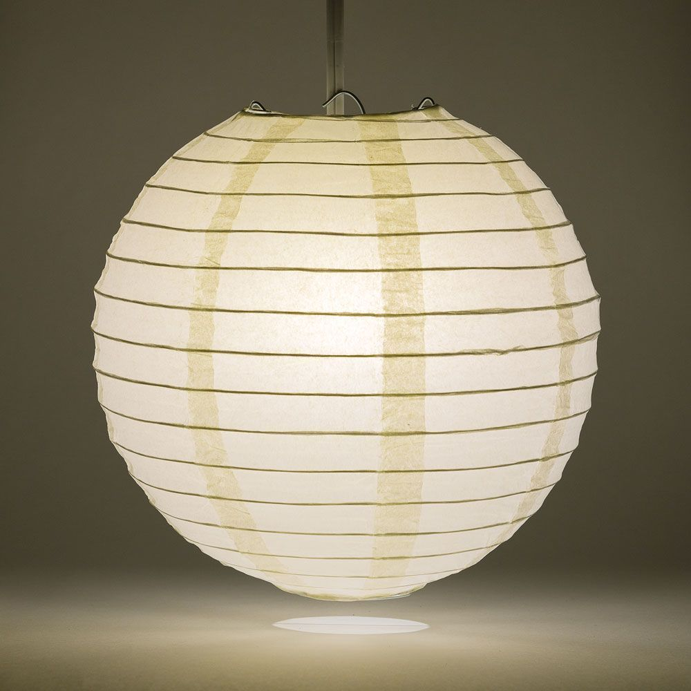 "20"" Beige / Ivory Round Paper Lantern, Even Ribbing, Chinese Hanging Wedding & Party Decoration"