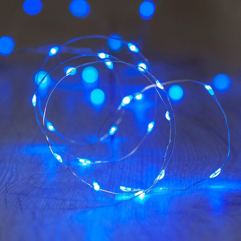 7.5 FT | 20 LED Battery Operated Blue Fairy String Lights With Silver Wire
