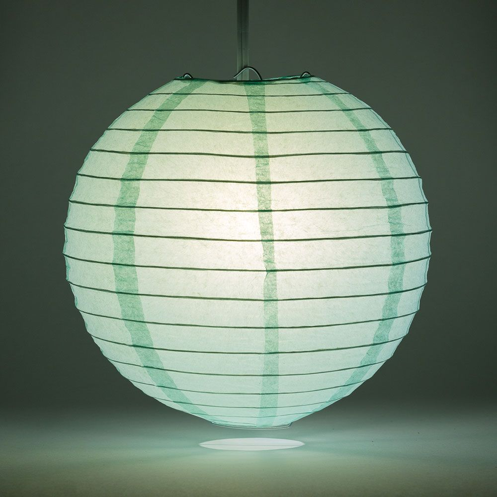"8"" Cool Mint Green Round Paper Lantern, Even Ribbing, Chinese Hanging Wedding & Party Decoration"