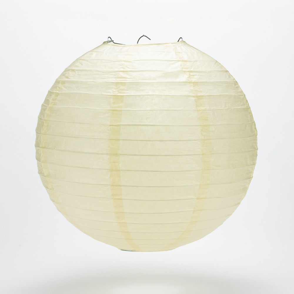 "20"" Ivory Round Paper Lantern, Even Ribbing, Chinese Hanging Wedding & Party Decoration"