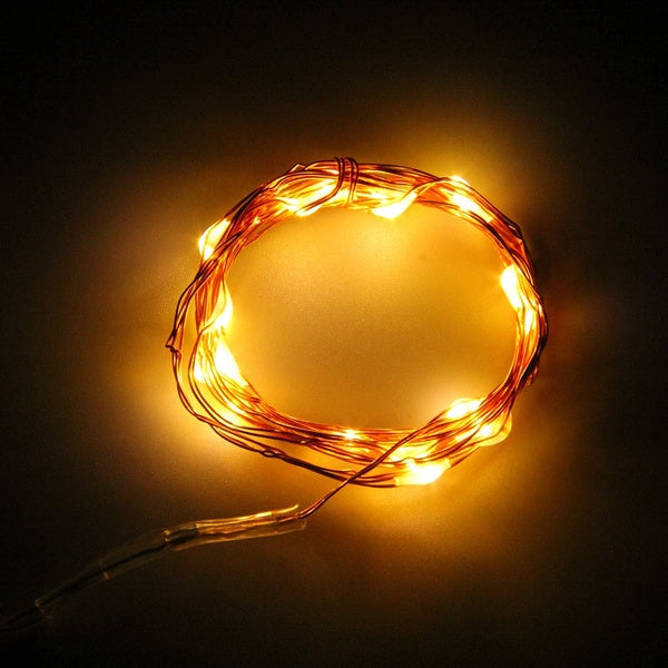 7.5 FT | 20 LED Battery Operated Warm White Fairy String Lights With Copper Wire