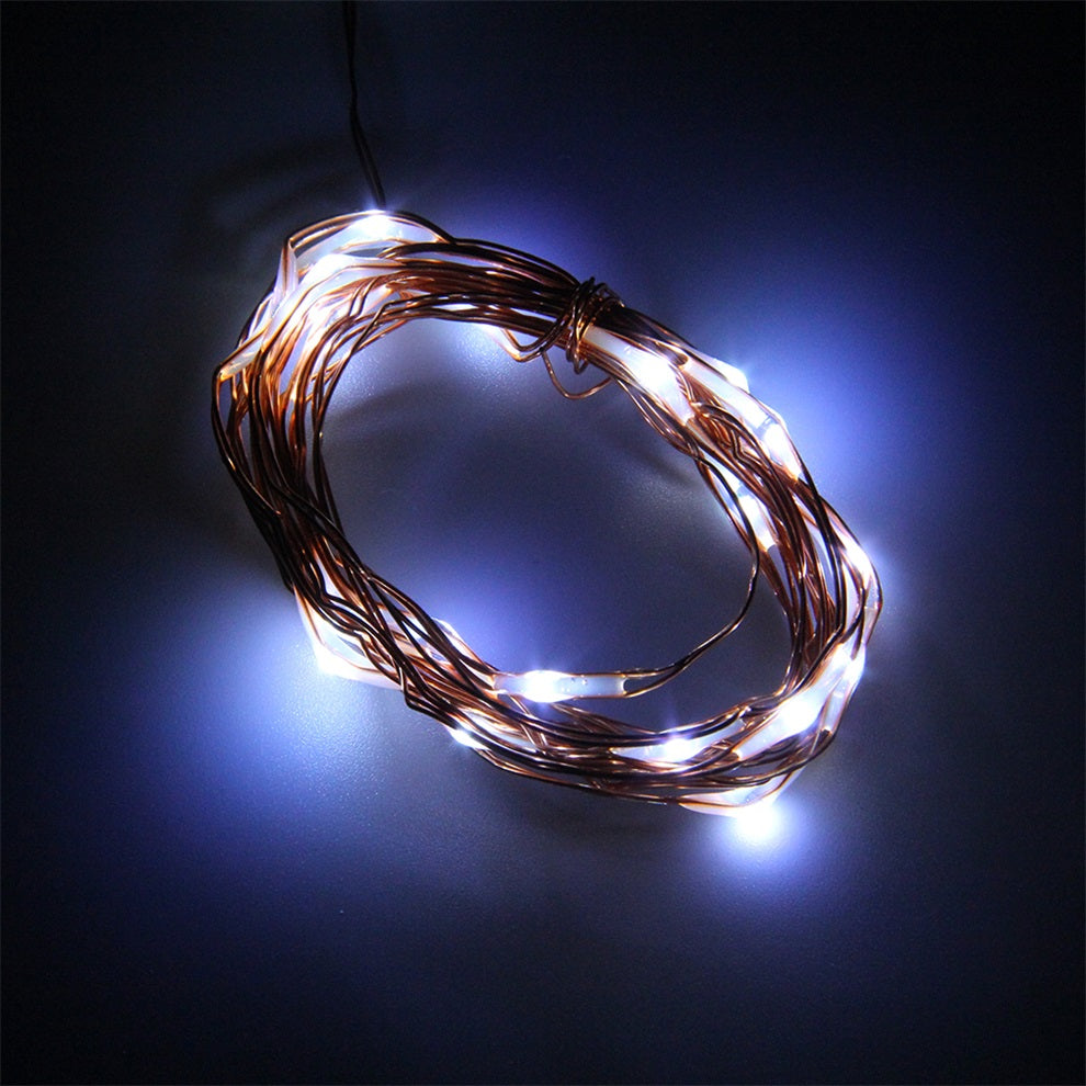 7.5 FT|20 LED Battery Operated Cool White Fairy String Lights With Copper Wire