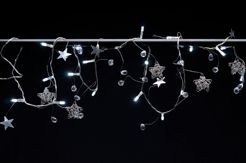 BLOWOUT 20 LED Garland Light Chain w/ Metal Stars, Shiny Stars, and Beads