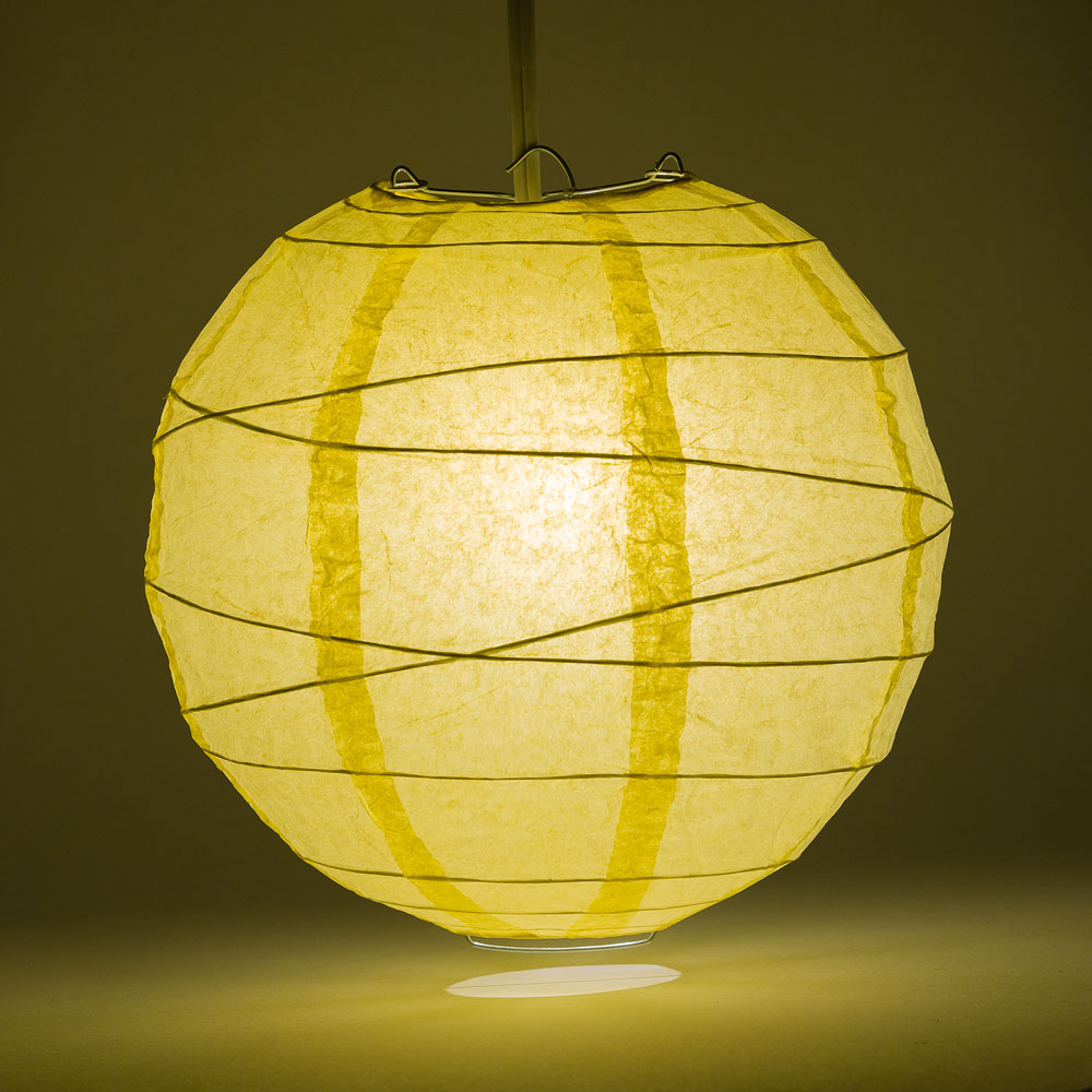 "24"" Lemon Yellow Chiffon Round Paper Lantern, Crisscross Ribbing, Chinese Hanging Wedding & Party Decoration"