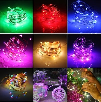 7.5 FT|20 LED Battery Operated Pink Fairy String Lights With Silver Wire