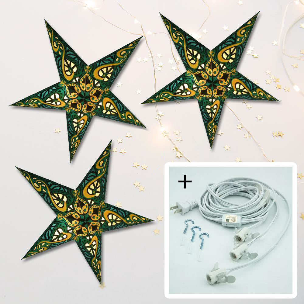 "3-PACK + Cord | Green Trance 24"" Illuminated Paper Star Lanterns and Lamp Cord Hanging Decorations - PaperLanternStore.com - Paper Lanterns, Decor, Party Lights & More"