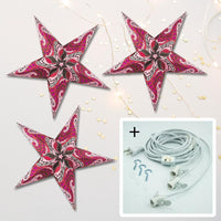 "3-PACK + Cord | Violet Purple Paisley 24"" Illuminated Paper Star Lanterns and Lamp Cord Hanging Decorations"