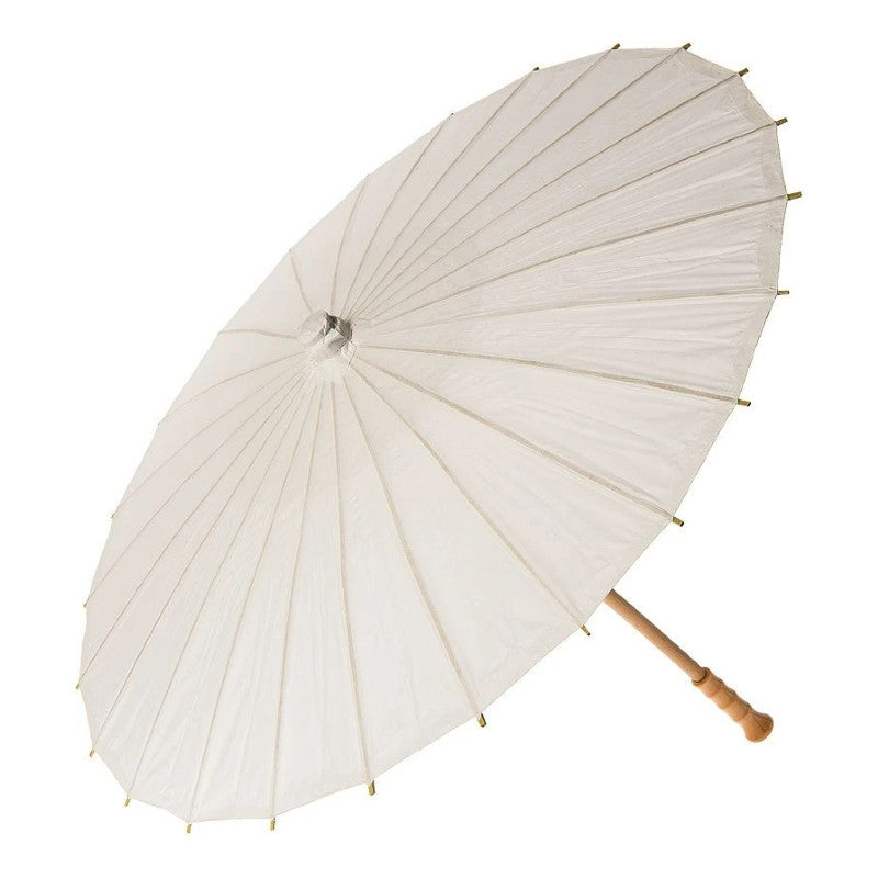 "28"" Wedding Beige Paper Parasol Umbrellas with Elegant Handle"