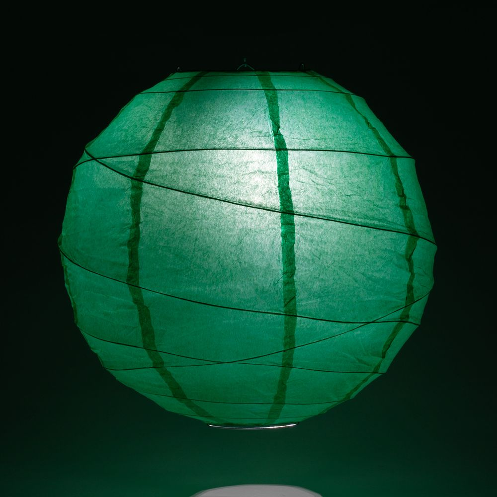 "24"" Arcadia Teal Round Paper Lantern, Crisscross Ribbing, Chinese Hanging Wedding & Party Decoration"