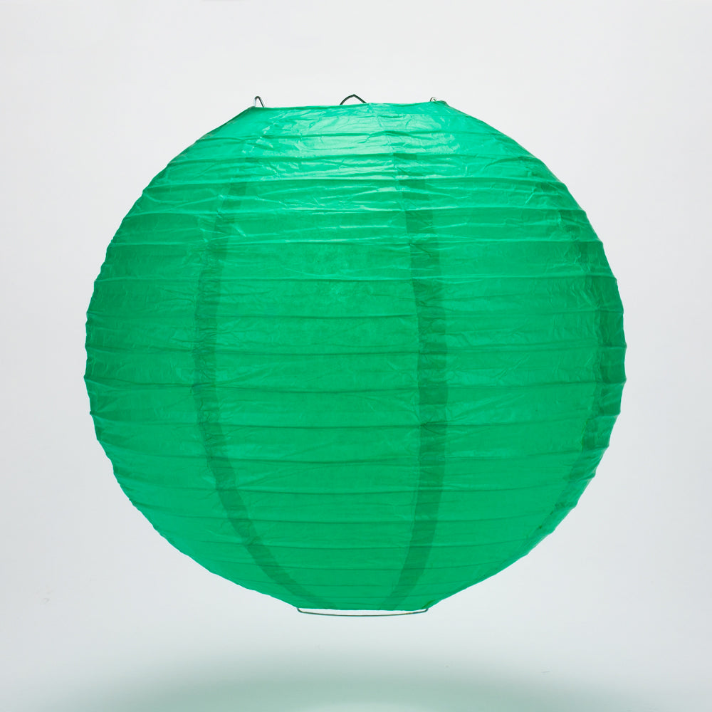 "24"" Arcadia Teal Round Paper Lantern, Even Ribbing, Chinese Hanging Wedding & Party Decoration"