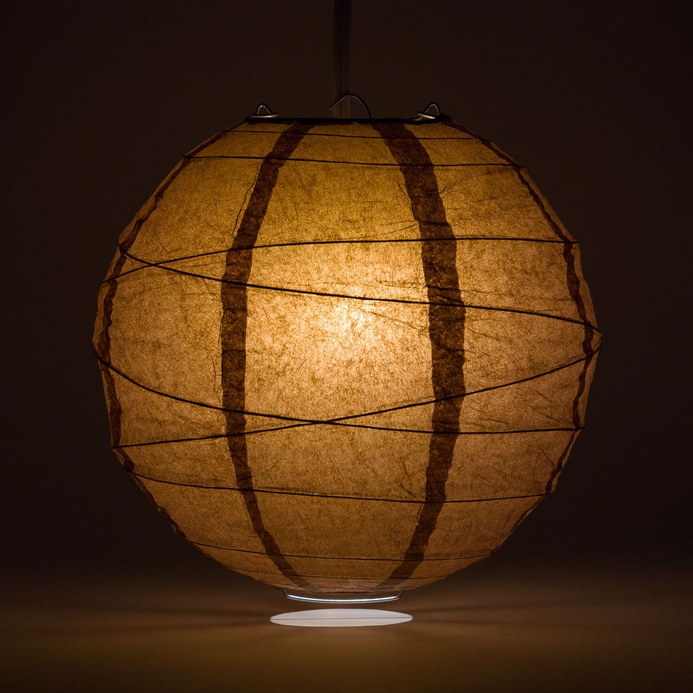 "24"" Brown Round Paper Lantern, Crisscross Ribbing, Chinese Hanging Wedding & Party Decoration"