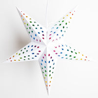 "24"" Glossy White Star w/ Inner Rainbow Kaleidoscope Paper Star Lantern, Chinese Hanging Wedding & Party Decoration"