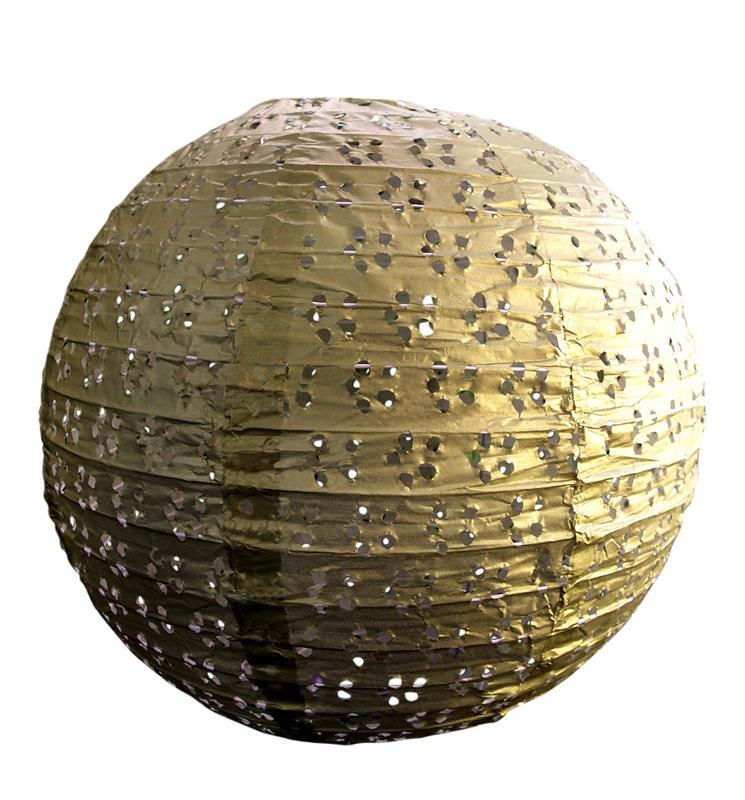 "BLOWOUT 24"" Round Eyelet Lace Look Paper Lantern - Gold - PaperLanternStore.com - Paper Lanterns, Decor, Party Lights & More"