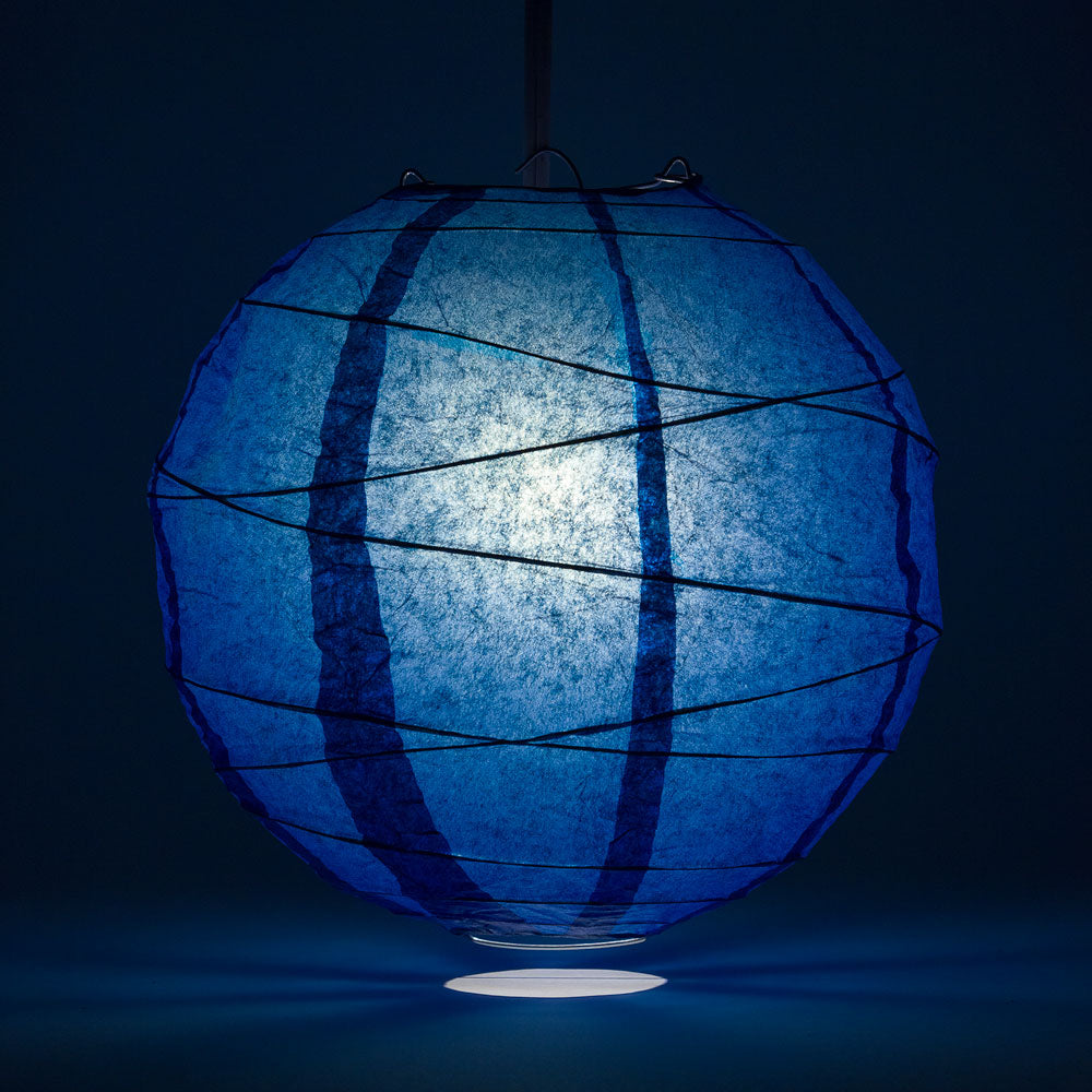 "16"" Navy Blue Round Paper Lantern, Crisscross Ribbing, Chinese Hanging Wedding & Party Decoration"