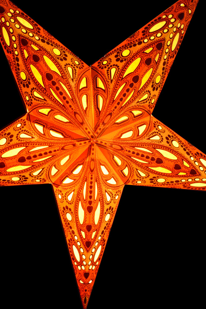 "BLOWOUT 24"" Orange Dahlia Paper Star Lantern, Chinese Hanging Wedding & Party Decoration"