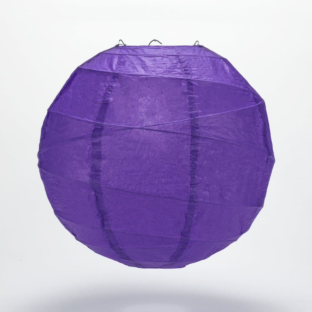 "24"" Plum Purple Round Paper Lantern, Crisscross Ribbing, Hanging Decoration"