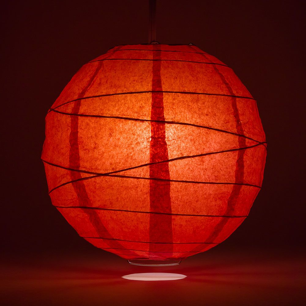 "14"" Red Round Paper Lantern, Crisscross Ribbing, Chinese Hanging Wedding & Party Decoration"