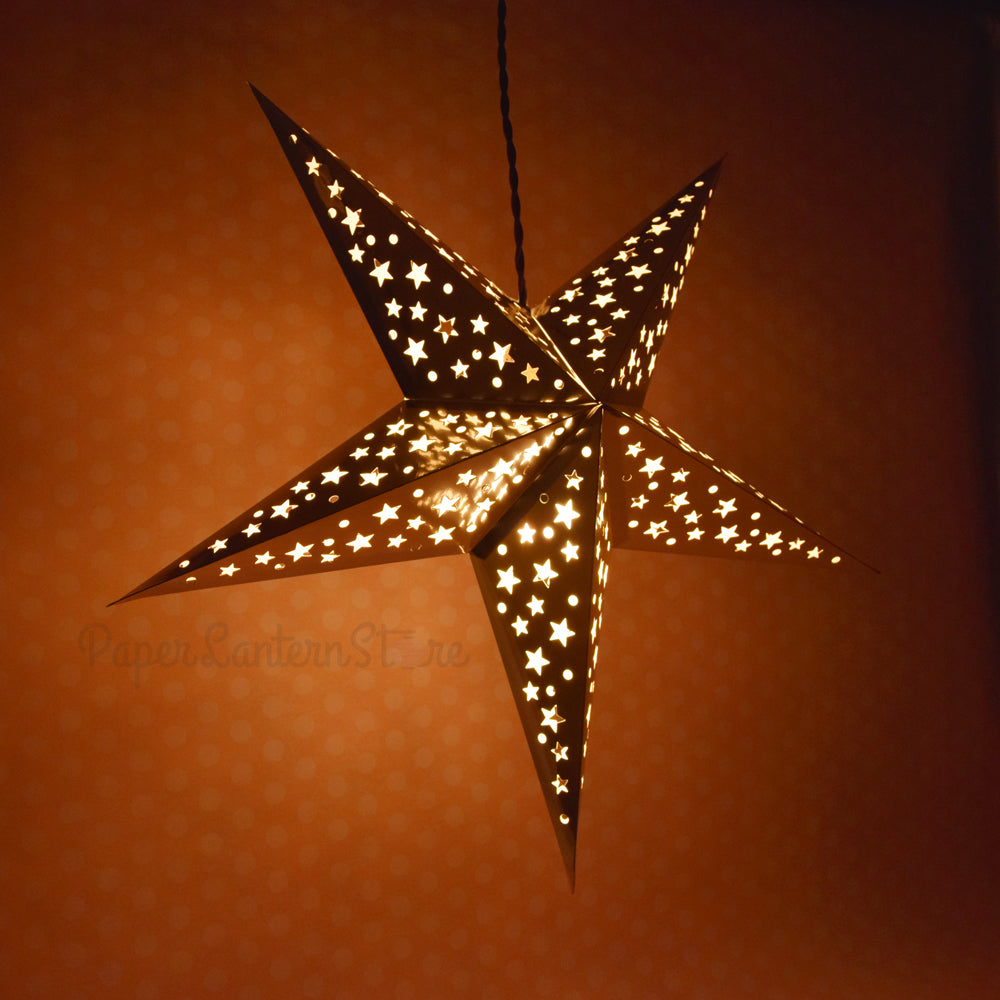 "24"" Silver Foil Cut-Out Paper Star Lantern, Chinese Hanging Wedding & Party Decoration"