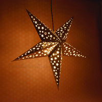 "26"" Silver Foil Cut-Out Paper Star Lantern, Chinese Hanging Wedding & Party Decoration"