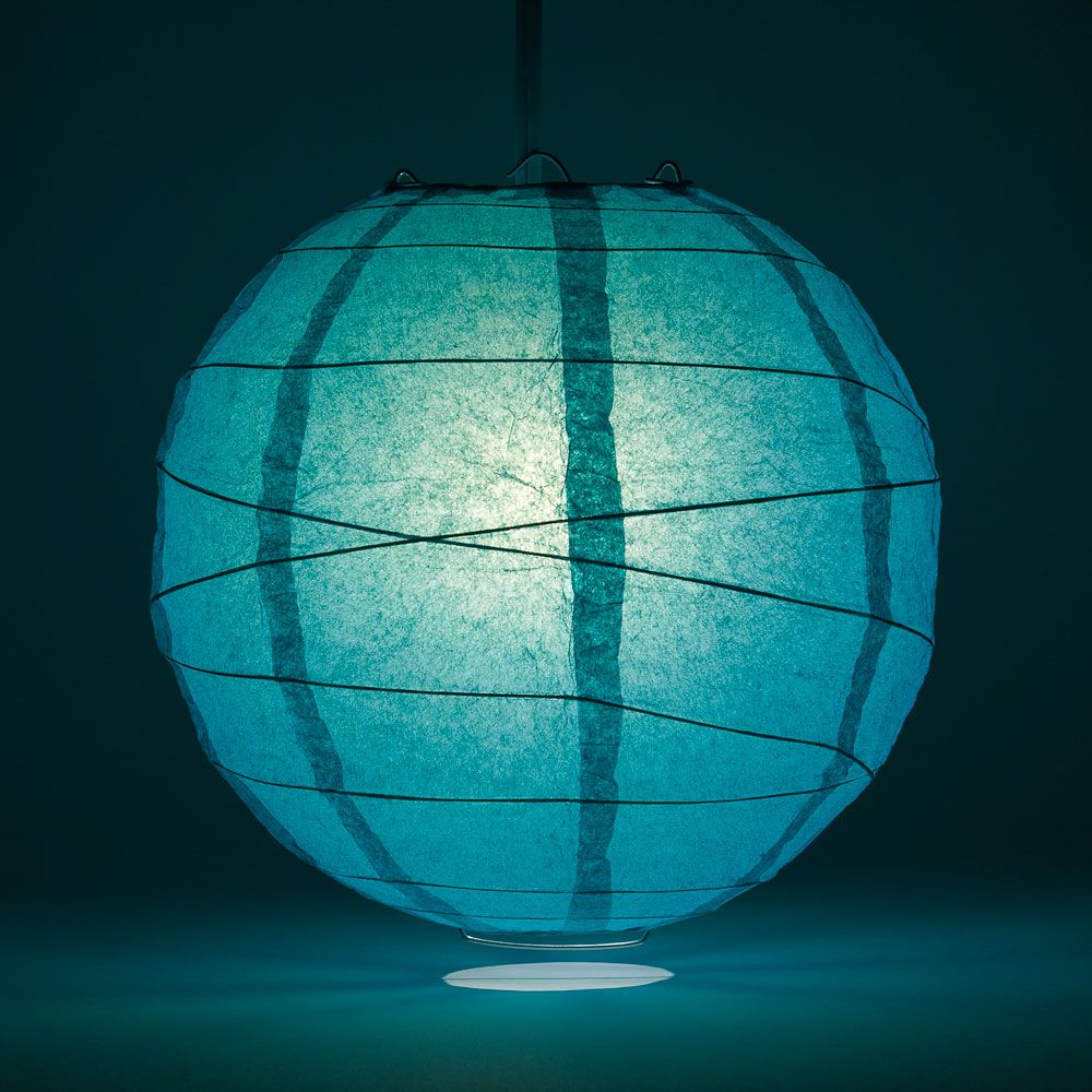 "12"" Teal Green Round Paper Lantern, Crisscross Ribbing, Chinese Hanging Wedding & Party Decoration"