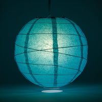 "24"" Teal Green Round Paper Lantern, Crisscross Ribbing, Chinese Hanging Wedding & Party Decoration"