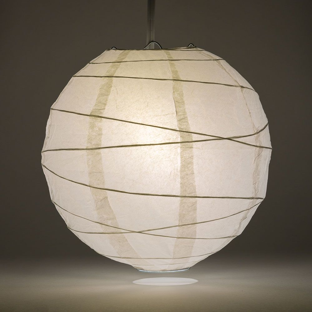 "16"" White Round Paper Lantern, Crisscross Ribbing, Chinese Hanging Wedding & Party Decoration"