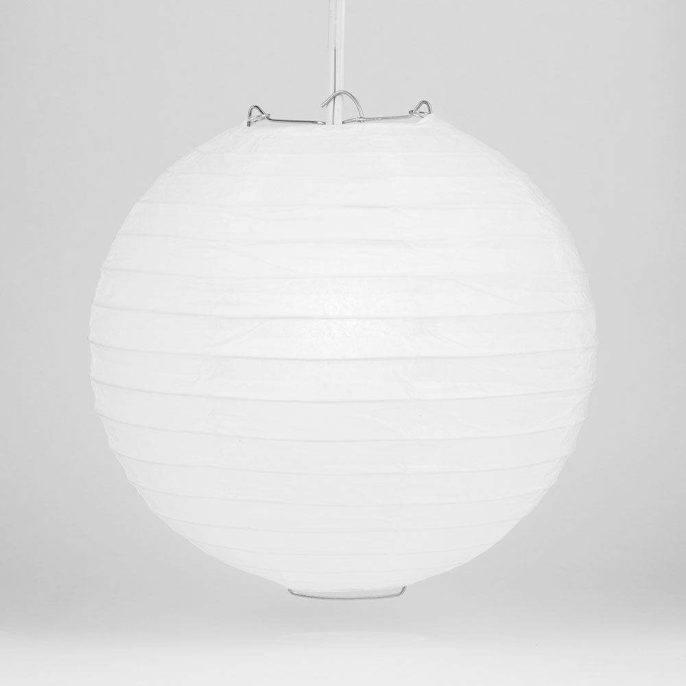 "4"" White Round Paper Lantern, Even Ribbing, Hanging Decoration (10 PACK)"