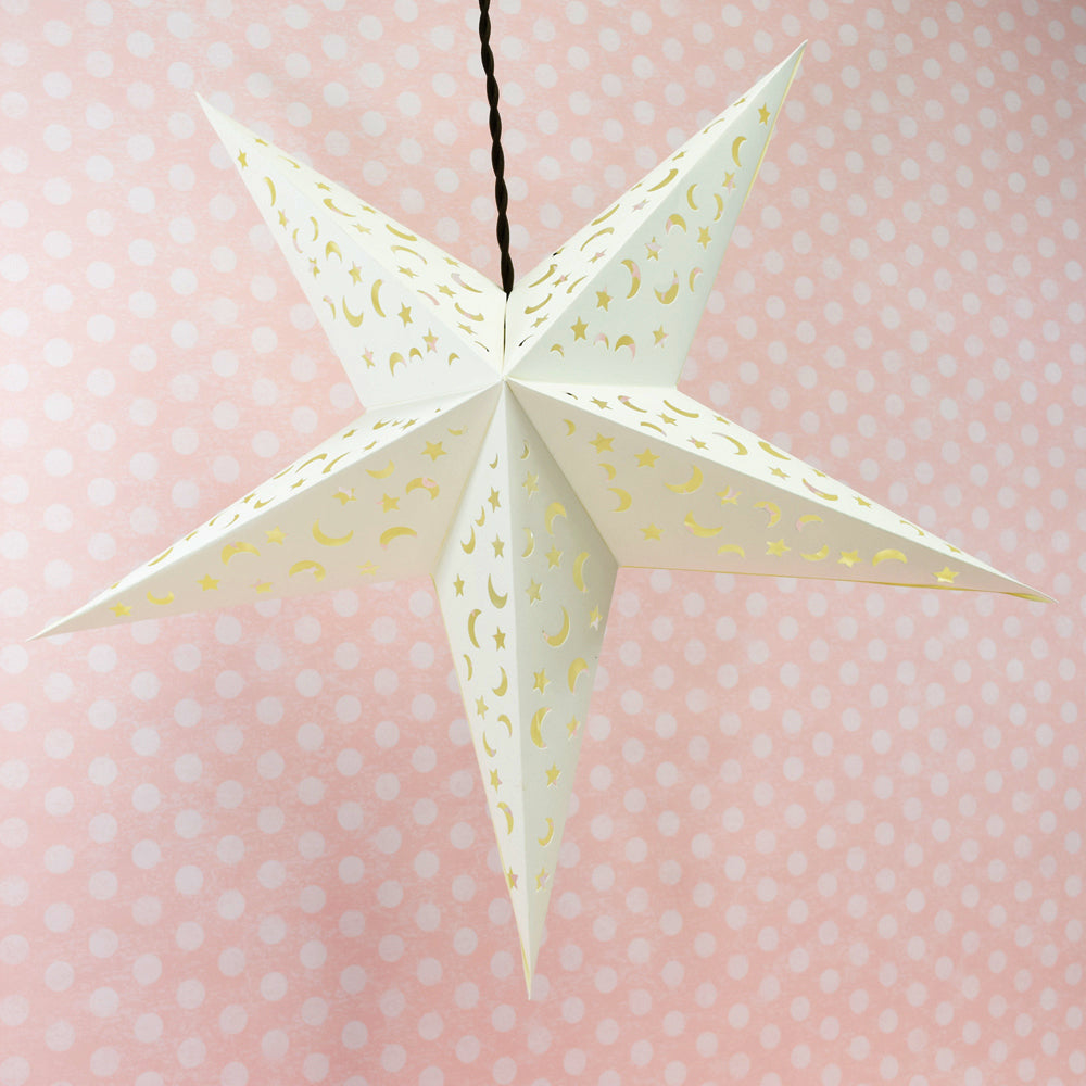 "24"" White Star Moon Cut-Out Paper Star Lantern, Hanging Wedding & Party Decoration"