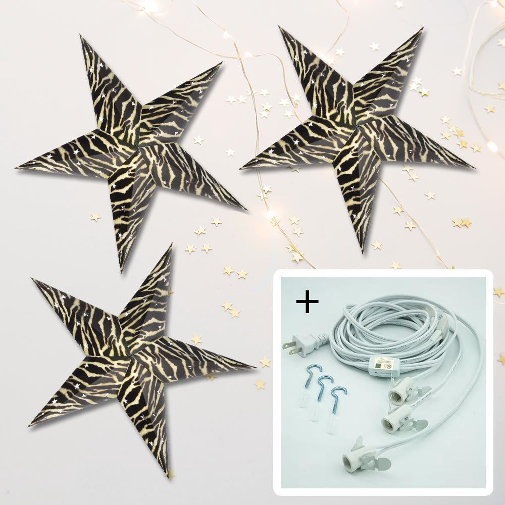 "3-PACK + Cord | Zebra 24"" Illuminated Paper Star Lanterns and Lamp Cord Hanging Decorations - PaperLanternStore.com - Paper Lanterns, Decor, Party Lights & More"